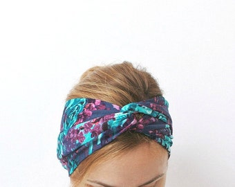 Floral head turban twist headband twisted center turband jersey head wrap yoga bohemian gipsy blue stretchy jersey boho turquoise plum