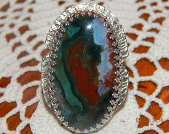 Artisan ring, hand fabricated/silversmith ring with beautiful multi colored Ocean Jasper.  Unique ring with decorative band.  Sz 7