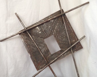 Abstract Metal Wall Art Blending Brutalist and Modern Style