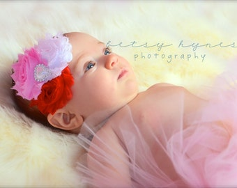 Baby Headband, Infant Headband, Newborn Headband, Red, Pink, and White Headband