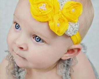 Bright Yellow Baby Headband, Infant Headband, Newborn Headband, Shabby Chic Headband, Yellow Triple Chiffon Flower Headband