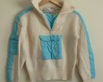 CLEO - Vintage Wool Sweater - 80's 90's Athletic Wool Cream Turquoise Preppy Prep
