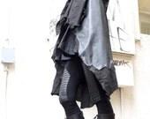 Loose Black  Linen Faux Leather  Vest / Asymmetric  Vest / Double Sided Vest / Extravagant  Tunic  Top A02129