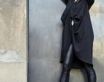 NEW COLLECTION / Autumn - Spring Black Trench Coat / / Extravagant Asymmetrical Blazer by Aakasha A10121