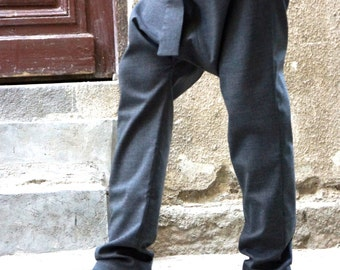 NEW Charcoal  Drop Crotch  Pants / Extravagant  Grey  Trousers A05114