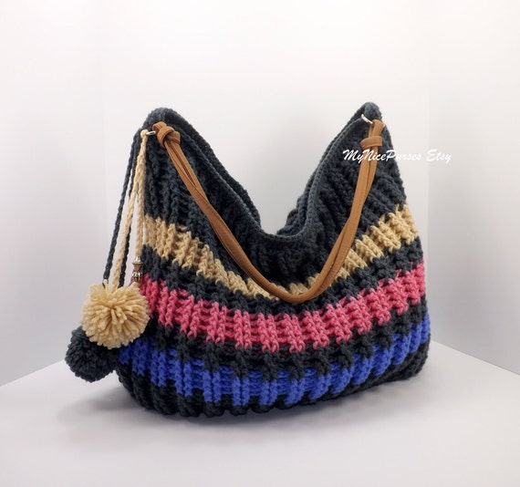 hobo bag, crochet winter bag, pompom hobo bag, crochet shopper bag ...