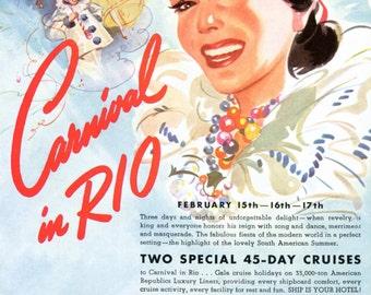 Carnival in Rio De Janeiro Brazil - 1940s Cruise Line Ad - Mardi Gras - Moore McCormack