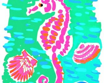 Art Print 16x20 Pink Sea Horse with Aqua by artist Kelly Tracht, Art Poster Sea Horse Art Item #4O