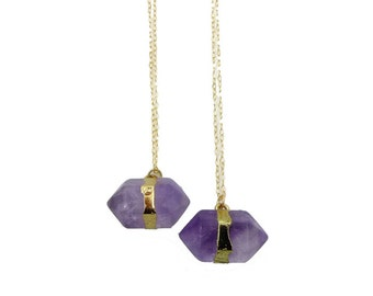 Amethyst Necklace Gold, Amethyst Necklace, Amethyst Pendant, February Birthstone, Healing Stones, Everyday Necklace, 14K Gold Fill Chain