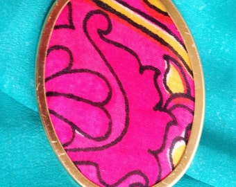 Pink Pin, Pink Gold Pin, Silk Shawl Pin, Gold Scarf Pin, Silk Pin, Cloth Brooch, Oval Pin, Silk Scarf Pin, Textile Pin