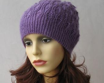 Lilac lace hat, hand knit women hat