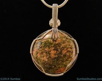 Unakite in Argentium Sterling Silver Pendant