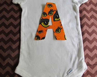 Halloween Iron on Monogram Initial Applique for Halloween Shirt or Babies and Kids