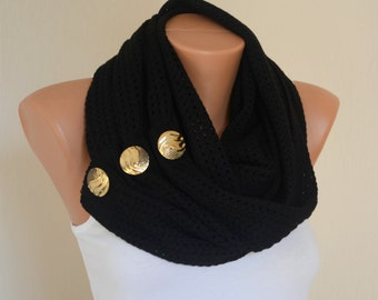 Black boho knit lace button infinity scarf-Winter scarf-Neck warmer-Cowl-Accessory-Christmas gifts-Button scarf-Lace scarf