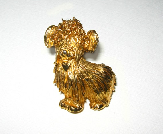 60997d50d63 Smooches From Pooches: R. Mandle Gold Terrier Dog Pin Brooch With Chain Top  Knot