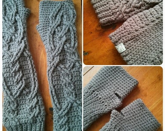 "Made To Order, ""Baby it's cold outside! Long John Finger-less Gloves."" Elbow-length crochet cabled Finger-less Gloves!"