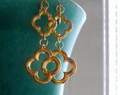 Gold Finish Quatrefoil Double Drop Earrings Gothic Moorish Geometric