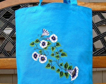 Tote Bag Hand Painted And Beaded Blue and White Flowered Bag, Back To School, Gifts Ideas, Hand Painted Bag, School Bag