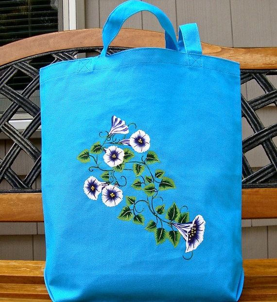 Tote Bag Hand Painted And Beaded Blue and White Flowered Bag, Mothers Day Gift, Gifts Ideas, Hand Painted Bag, Beach Bag