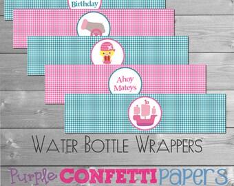 Printable Pirate Girl Water Bottle Wrapper, Water Bottle Label  - Pink & Aqua  INSTANT DOWNLOAD DIY