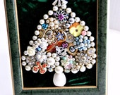 Jewelry Christmas Tree -Recycled - Vintage - Green - Small