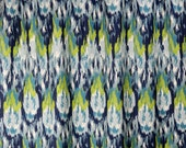 Navy Blue Lime Citrine Green Frost Birch Craze Ikat Curtain - Rod Pocket - 84 96 108 or 120 Long by 25 or 50 Wide - Optional Blackout Lining