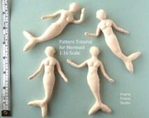 Download PDF Mermaid cloth doll 1:16 scale Pattern. Tutorial little mermaid mannequin soft doll 4.5 inch (11.5cm) three quarter inch scale