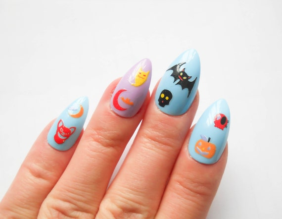 Halloween Nails Pastel Goth Kawaii Nails Stiletto by niceclaws