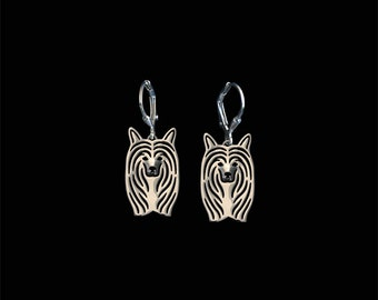 Chinese Crested Powderpuff earrings - sterling silver