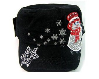 SALE- Womens Snowman Bling Cadet Hat Winter Christmas Fidel Hats Military Shape Castro Snowflake Black Silver and Red