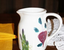Vintage Hartstone Pottery Pitcher Stoneware Vegetable Theme