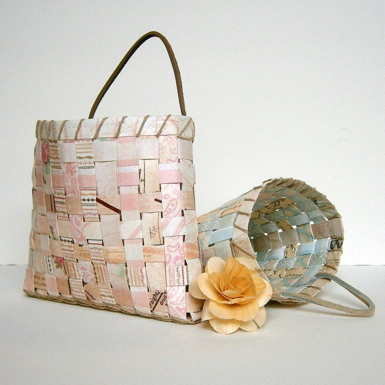 woven paper basket pastel blue tan or pink tan by. Black Bedroom Furniture Sets. Home Design Ideas