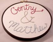 Custom names embroidery hoop 6 with black painted hoop for weddings couples anniversaries