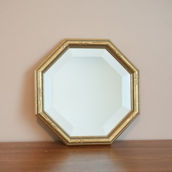 Gold faux bamboo wall mirror octagonal beveled gilded by for Octagon beveled mirror