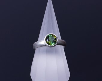 Bi-Color Blue-Yellow Green Tourmaline 7mm Round Bezel Sterling Silver Comfort Fit Ring
