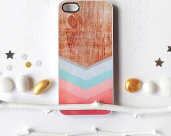 iPhone 6S Case, iPhone 6S Plus Case Wood Print, iPhone 5s Case Chevron, iPhone 6 Case, Geometric iPhone Case, Coral Chevron iPhone Cover I97