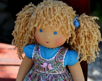 "Waldorf doll classic ""Сlear head""-13 inches, daughter of a gift"