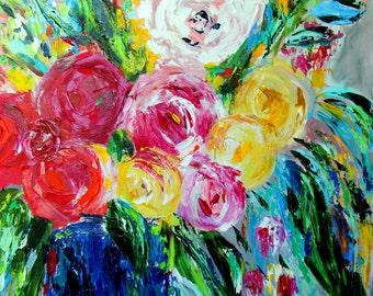 "SALE! Large Still Life, Flowers in Cobalt Blue Mason Jar, Palette Knife Painting, ""Sarah"", 24"" x 30"""