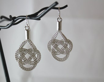 Unique Hand Braided Sterling Silver Earrings