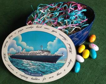 Retro Nautical Ship Tin - Holland America Line - Elegant Gift Box or Preppy Decor - Father's Day