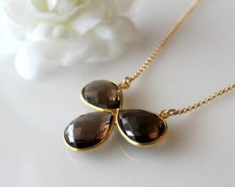 Large Smokey Quartz Pendant Necklace, Statement Necklace, Chocolate Brown Pendant, Gold Vermeil