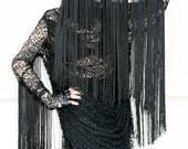ADELE PSYCH 'Cobweb' Avant- Garde Glam Goth Rock style Black Draped Net Mini Dress with Long Fringing Detail on sleeves