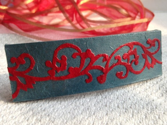 Hanji French Barrette Hair Pin Iron Blue Red Swirls Sturdy Stainless Steel Barrette Handmade