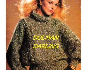 Digital Download Dolman Sleeve Roll-Neck Knit Sweater Pattern - True Retro Relaxed Style Knitting Pattern Knitting Supplies