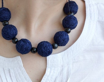 Blue long necklace beads of a thread cotton for women textile wooden beads natural boho