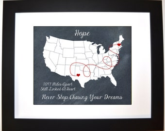 Personalized Going Away Leaving Moving Gift, For Couple Long Distance Relationship Gift Lovers Whimsy Map Present Print Wall Art Home Decor