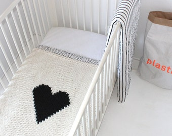 heart baby blanket crib size hand knit baby blanket for new baby baby shower