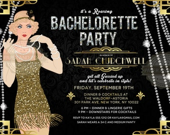 ANY EVENT - Bachelorette Bridal Shower Birthday Invitation Milestone Roaring Twenties Great Gatsby Art Deco 1920s Retro