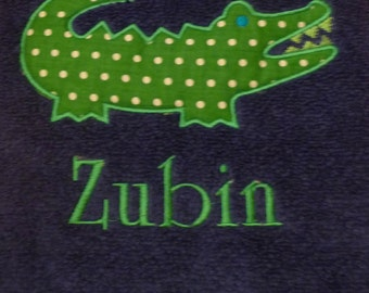 Preppy, appliqued and personalized beach towel