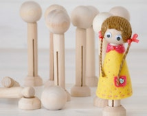 DIY Clothespin Doll - 30 Wooden Dolls -  Wooden Clothespins Dolls DIY - Clothespin with Head and Stand